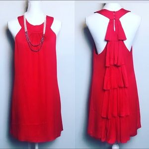 ALICE + OLIVIA red silk tiered back shift dress
